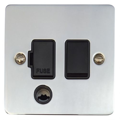 G&H FC56B Flat Plate Polished Chrome 1 Gang Fused Spur 13A Switched & Flex Outlet